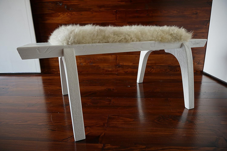 Minimalistisch Eichenholz Innenbank / Polsterbank mit echtem geschweiften Cremeweiß Norwegisch Pelssau Schaffell - Designermöbel von MILABERT (B0516O4)