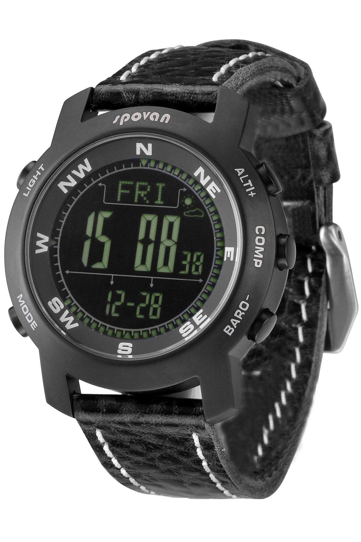 Spovan Mens Altimeter Barometer Compass Black Titanium Sapphire Digital Watches
