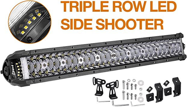 "Tri-Row 21/"" INCH 270W LED Work Light Bar Side Shooter Suv Boat Fog Driving Lamp"