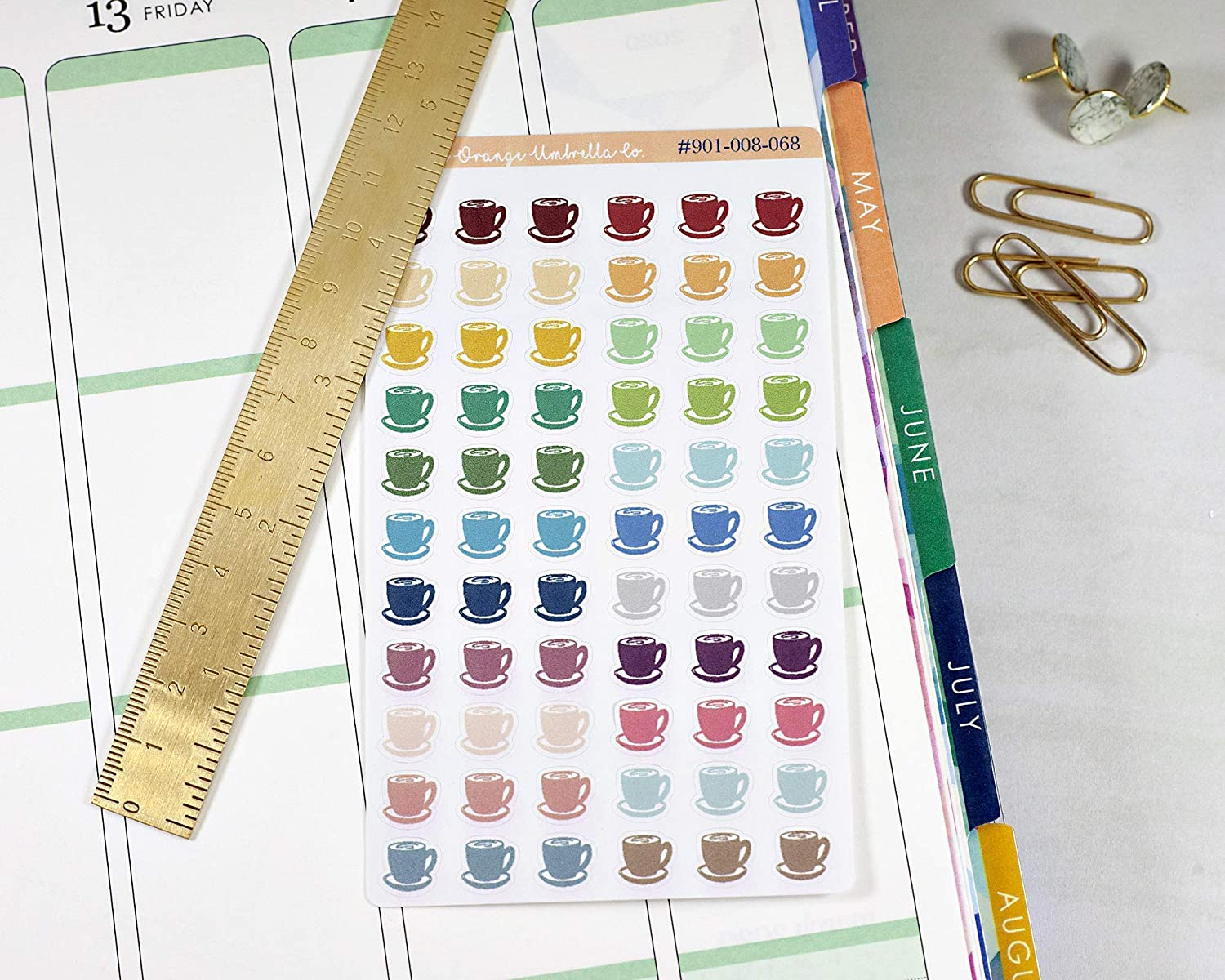 #901-008-068-WH Cafe Muted Rainbow Coffee Cup Stickers for Tracking Coffee Latte Coffee Cup Planner Stickers