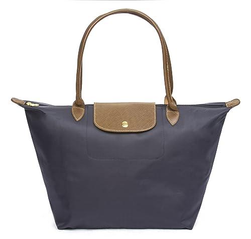 Korvara Nylon Tote Bag – Premium Nylon & Vegan Saffiano Leather Shoulder Handbag for Women