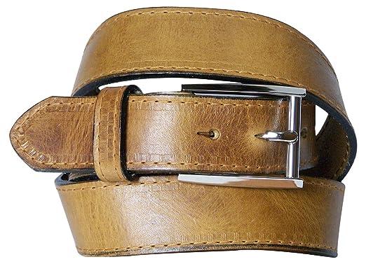 Fronhofer Luxueuse ceinture pour homme avec une boucle classique plaquée  argent, ceinture en cuir, 2a3d8d84773