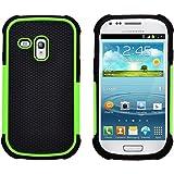 GizzmoHeaven Samsung Galaxy S3 Mini Hülle Stoßfest Handy Schutzhülle Stoßgedämpfter Extraharte Tasche Silikon Gel Hybrid Armor Cover Case Etui für Samsung Galaxy S3 Mini (i8190) - Grün