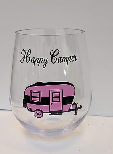 117fcdc629f Amazon.com: Happy Camper Acrylic Plastic Stemless Wine Glass ...