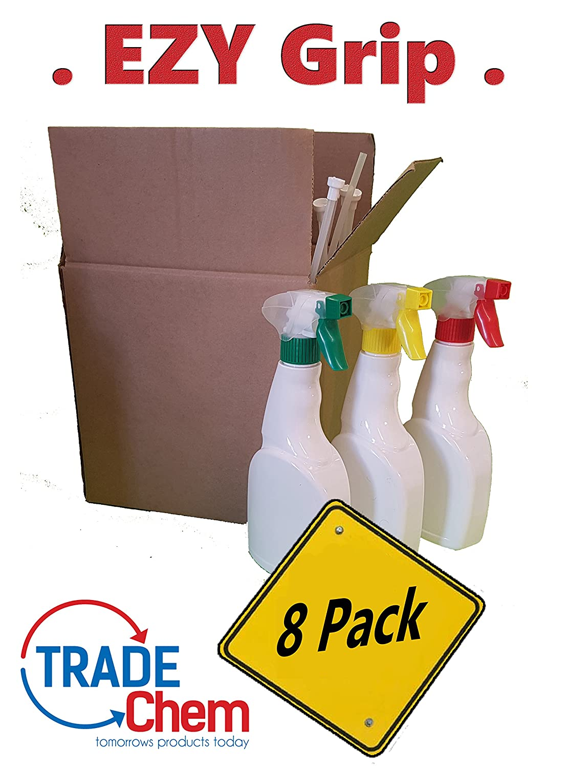 8 PACK EZY Grip 500ml Trigger Spray White Bottles - Mixed Head Colour Trade Chemicals TCEZY