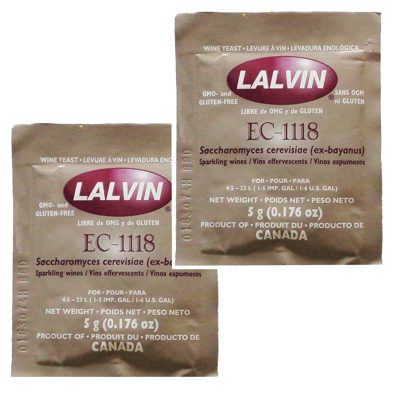 2x Lalvin EC-1118 Champagne Yeast 5g Sachet 18% Homebrew Wine Making 4.5L-23L