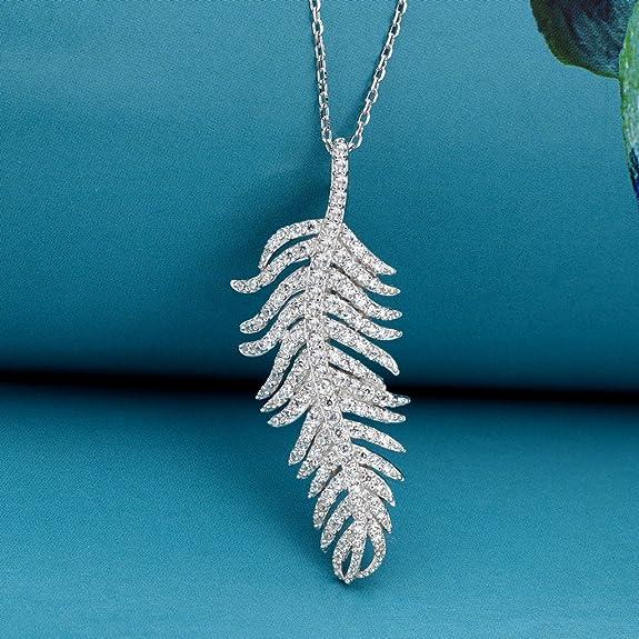 极其时尚的水晶羽毛纯银项链只要$24.99!