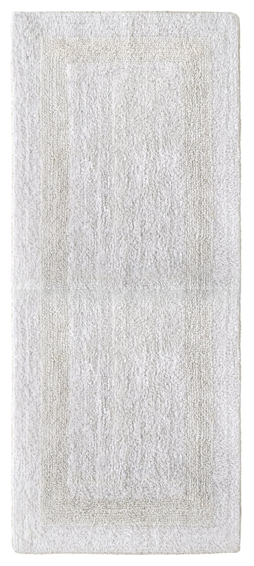 Cotton Craft Reversible Step Out Bath Mat Rug Set 24x60 White, 100% Pure Cotton, Super Soft, Plush & Absorbent, Hand Tufted Heavy Weight Construction, Full Reversible, Rug Pad Recommended