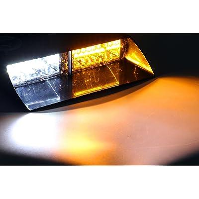 Jackey Awesome Car 16-led 18 Flashing Mode Emergency Vehicle Dash Warning Strobe Flash Light (Amber & White): Automotive
