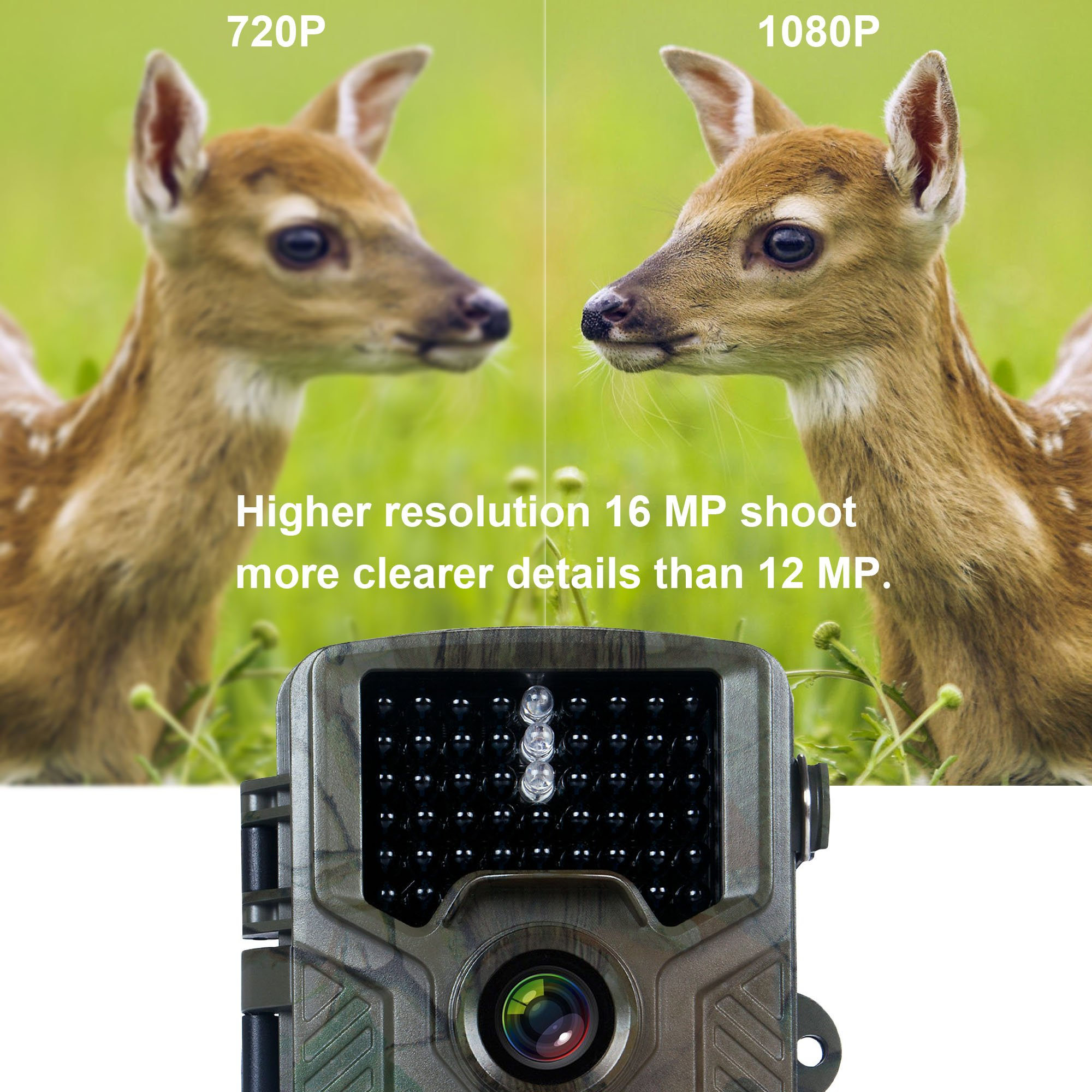 FLAGPOWER Hunting Trail Camera, 16MP 1080P 0.2s Trigger Time Wildlife Game Camera with 2.4'' LCD 850nm Upgrading IR LEDs Night Vision up to 75ft/2.3m IP56 Spray Water Protected Design by FLAGPOWER (Image #3)