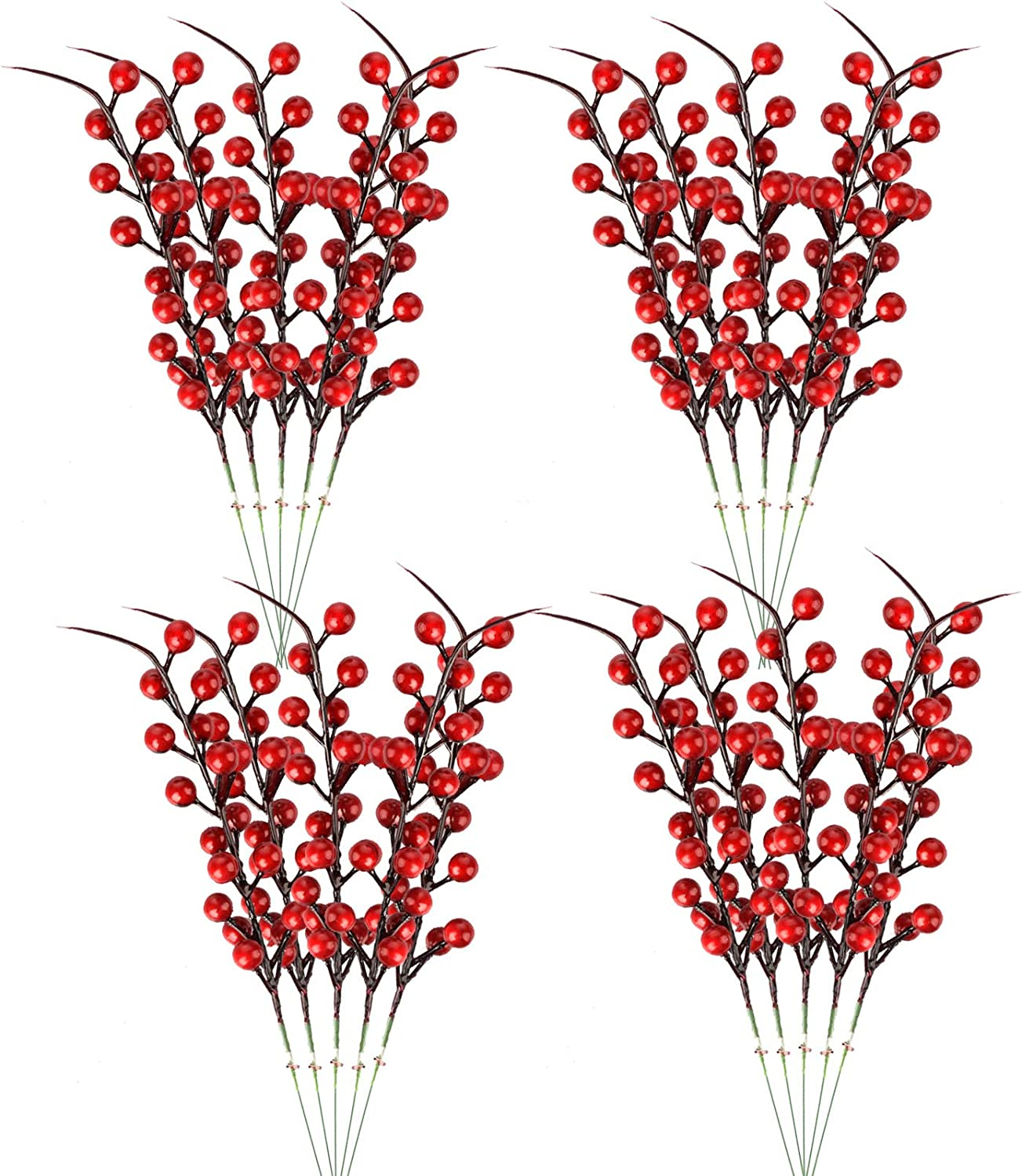Artificial Red Berry 20pcs Holly Christmas Berries Stem Faux Berry Spray Branches Red Berry Sprigs Twigs Artificial Fruit Plant For Christmas Tree Crafts Holiday Wedding And Home Decor 10 24 In Amazon Ca Home Kitchen