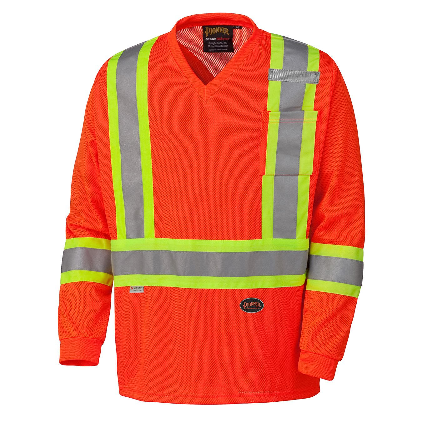 Pioneer V1050950-2XL High Visibility Long Sleeve Safety Shirt, Micro Mesh, Orange, 2XL