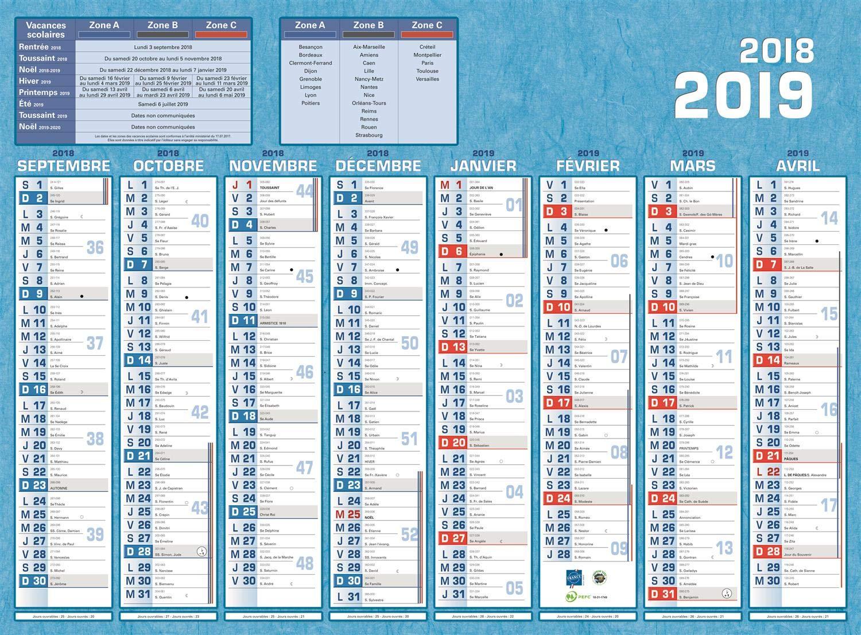 Calendrier bancaire année civile 'Classique 16 Mois' 40,5 x 55 cm coloris bleu