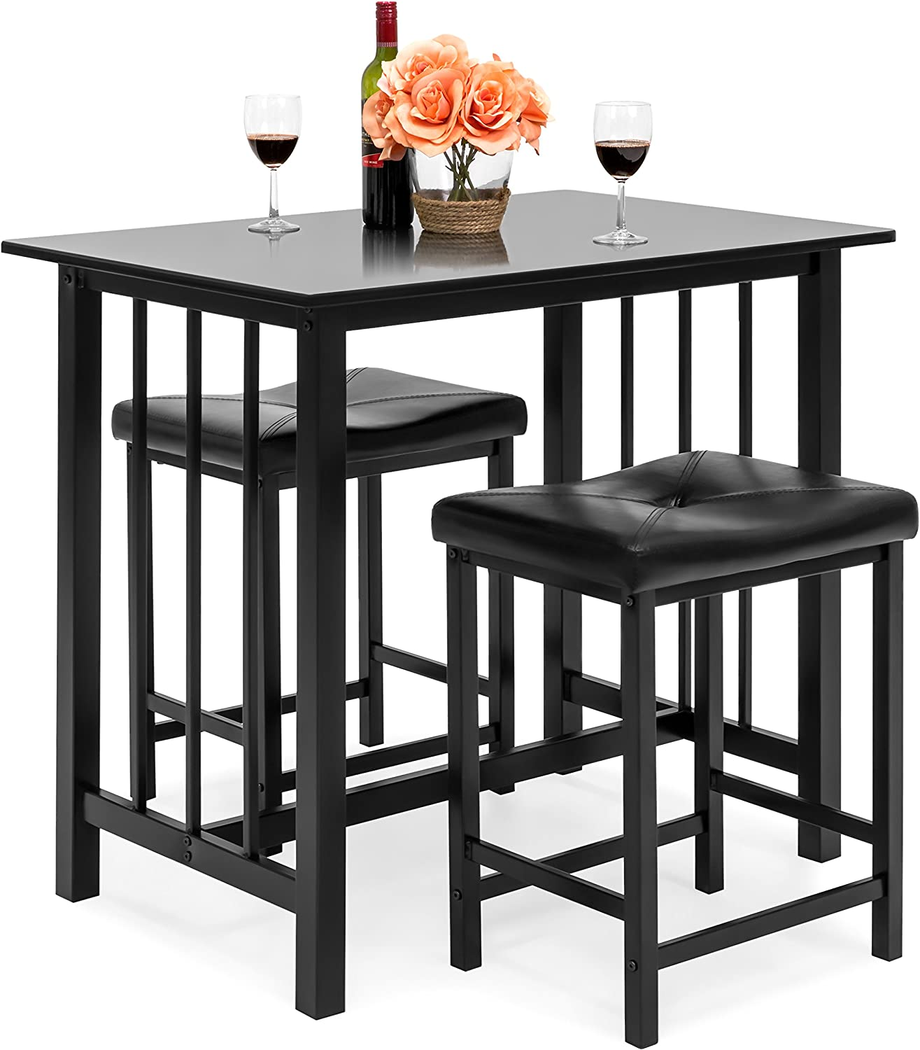 Best Choice Products Marble Veneer Kitchen Table Dining Set w 2 Counter Stools, Black
