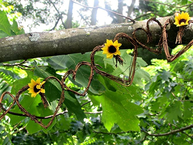 Amazon Summer Sunflower Grapevine Twig Heart Garland Flower