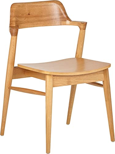 Rivet Mid-Century Modern Wood Dining Chair, 30 H, Natural