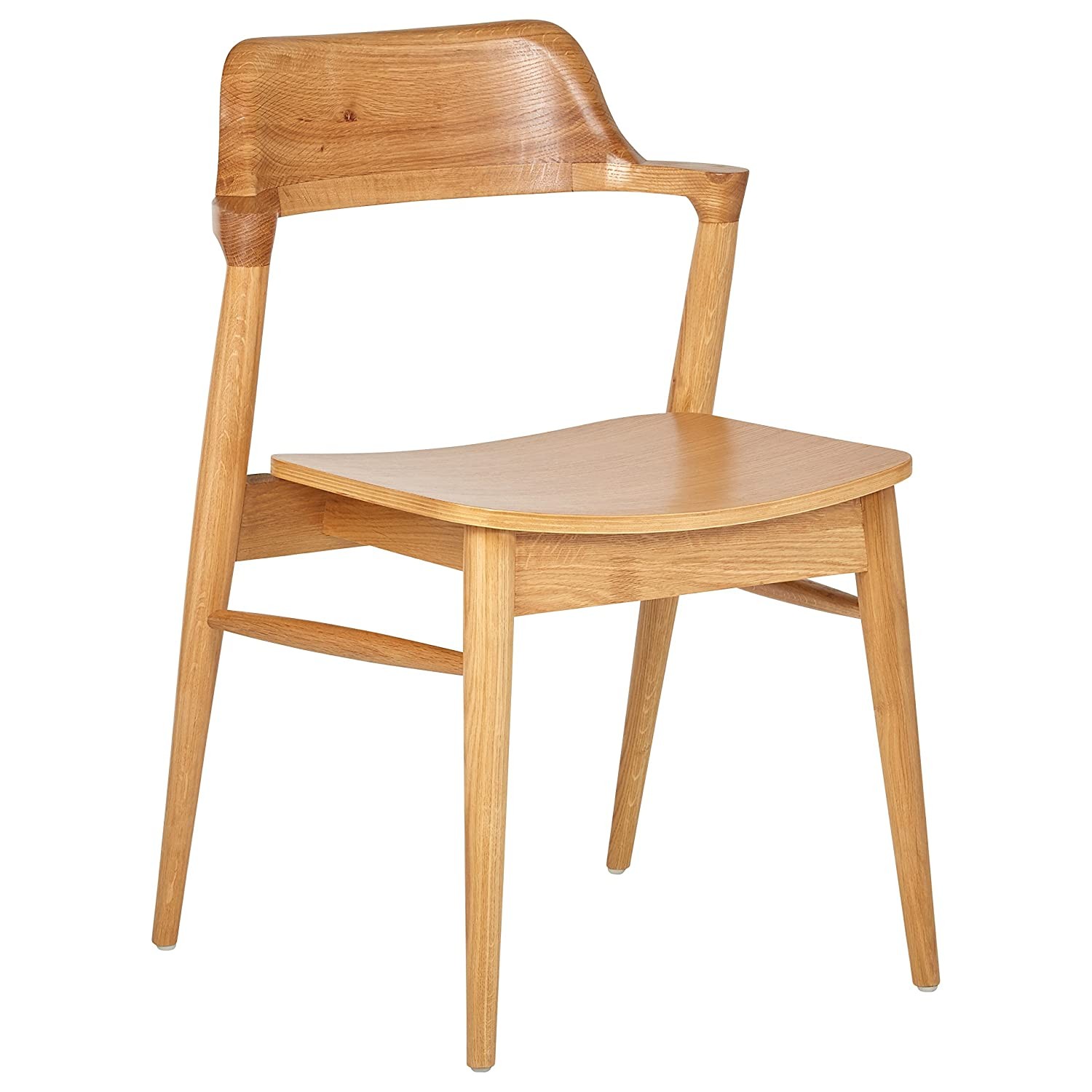 Amazon com rivet mid century modern wood dining chair 30h natural kitchen dining room furniture