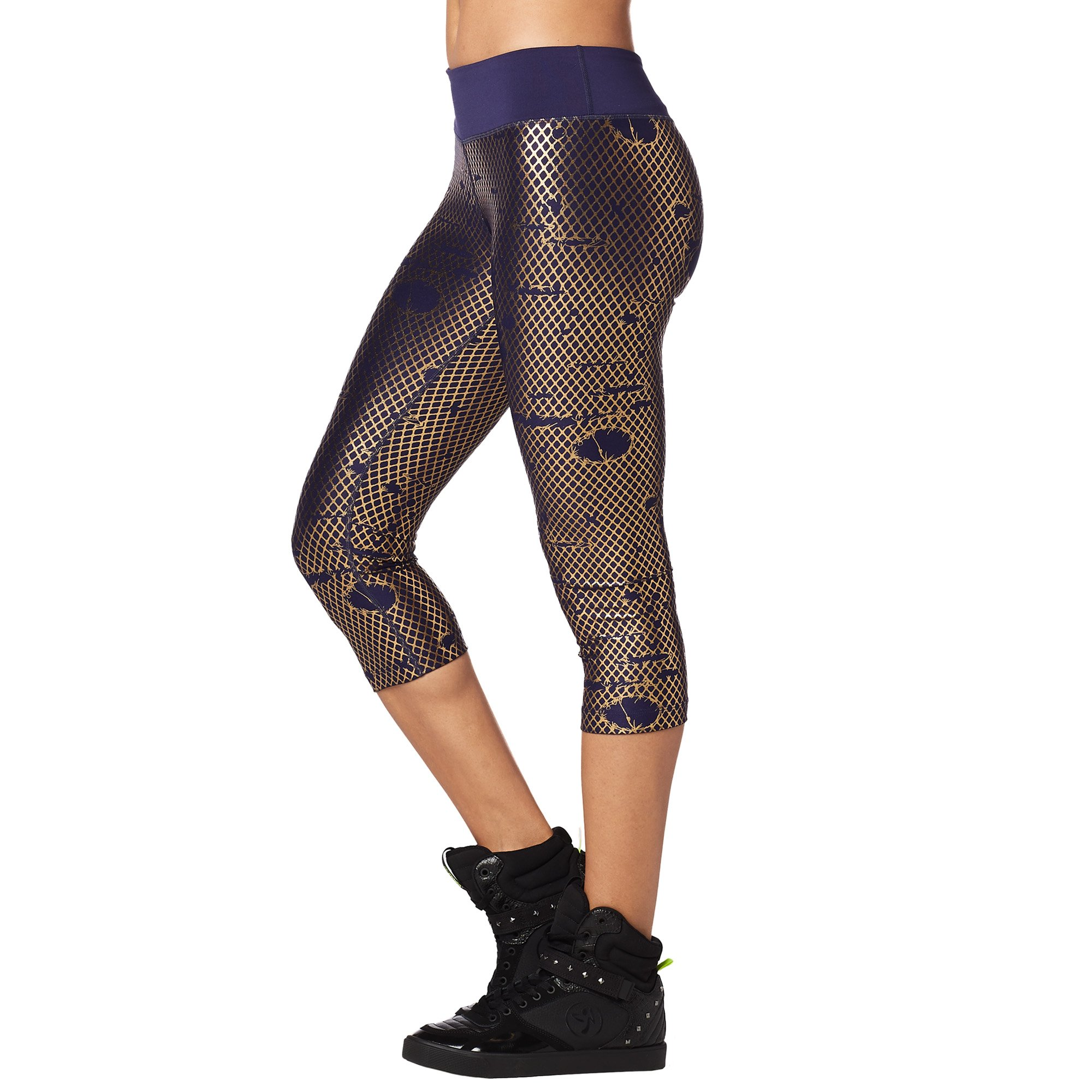 Zumba Metallic Print Capri Leggings Fitness Compression Dance Workout Leggings for Women by Zumba