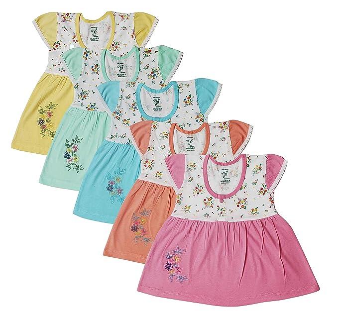 12da217420ed Jo Kids Wear Baby Girls Frock Set (4070 Multicolour  0 - 6 Months ...