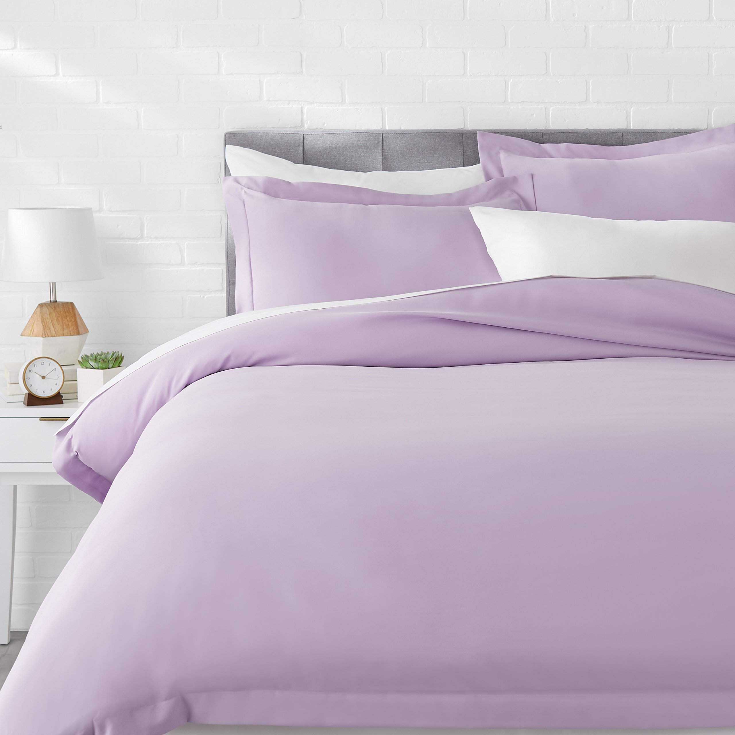 AmazonBasics Microfiber Duvet Cover Set - Full/Queen, Frosted Lavender by AmazonBasics