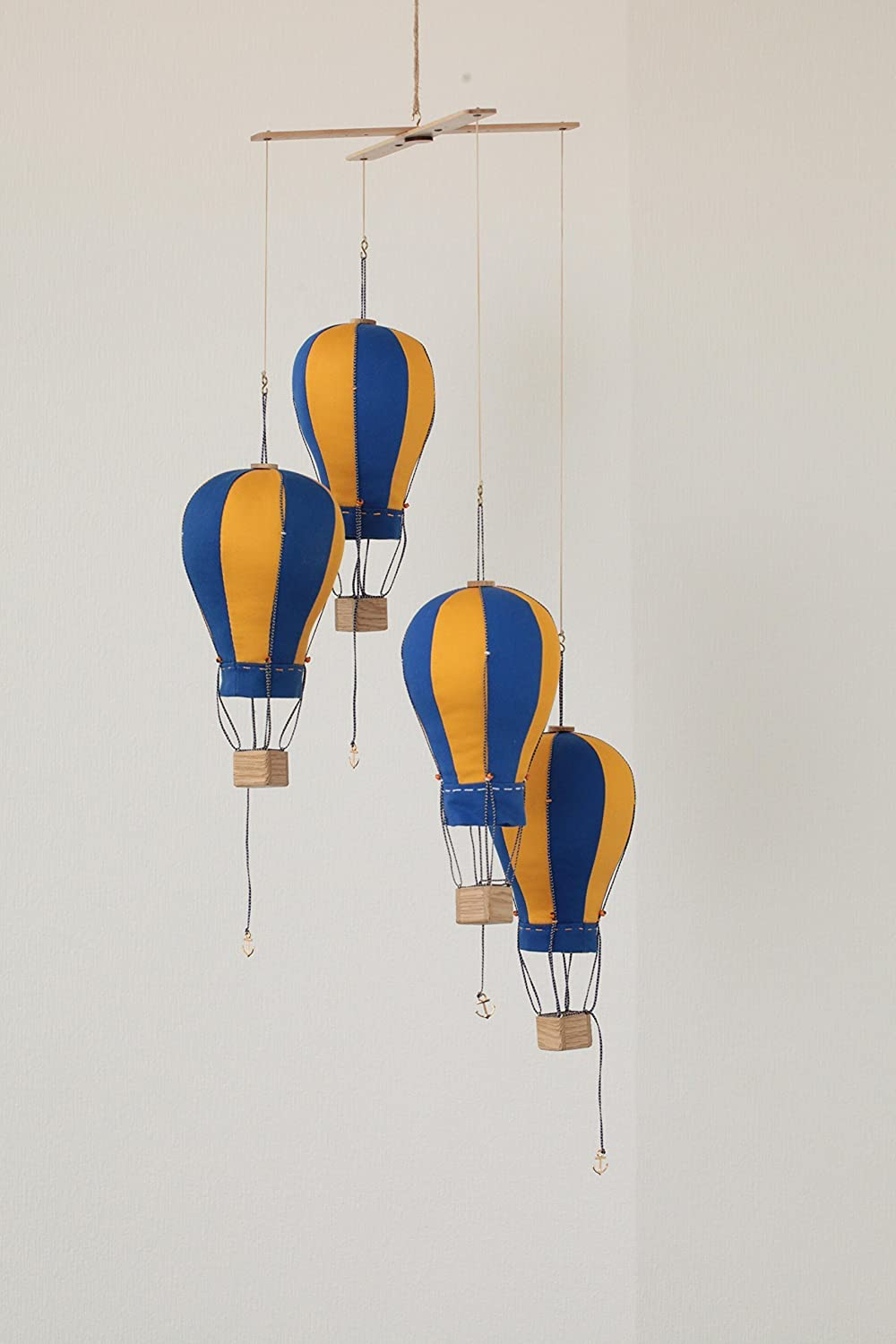 Image of Hanging Hot Air Balloon Mobile Fabric Nursery Kid Room Decor Home and Kitchen