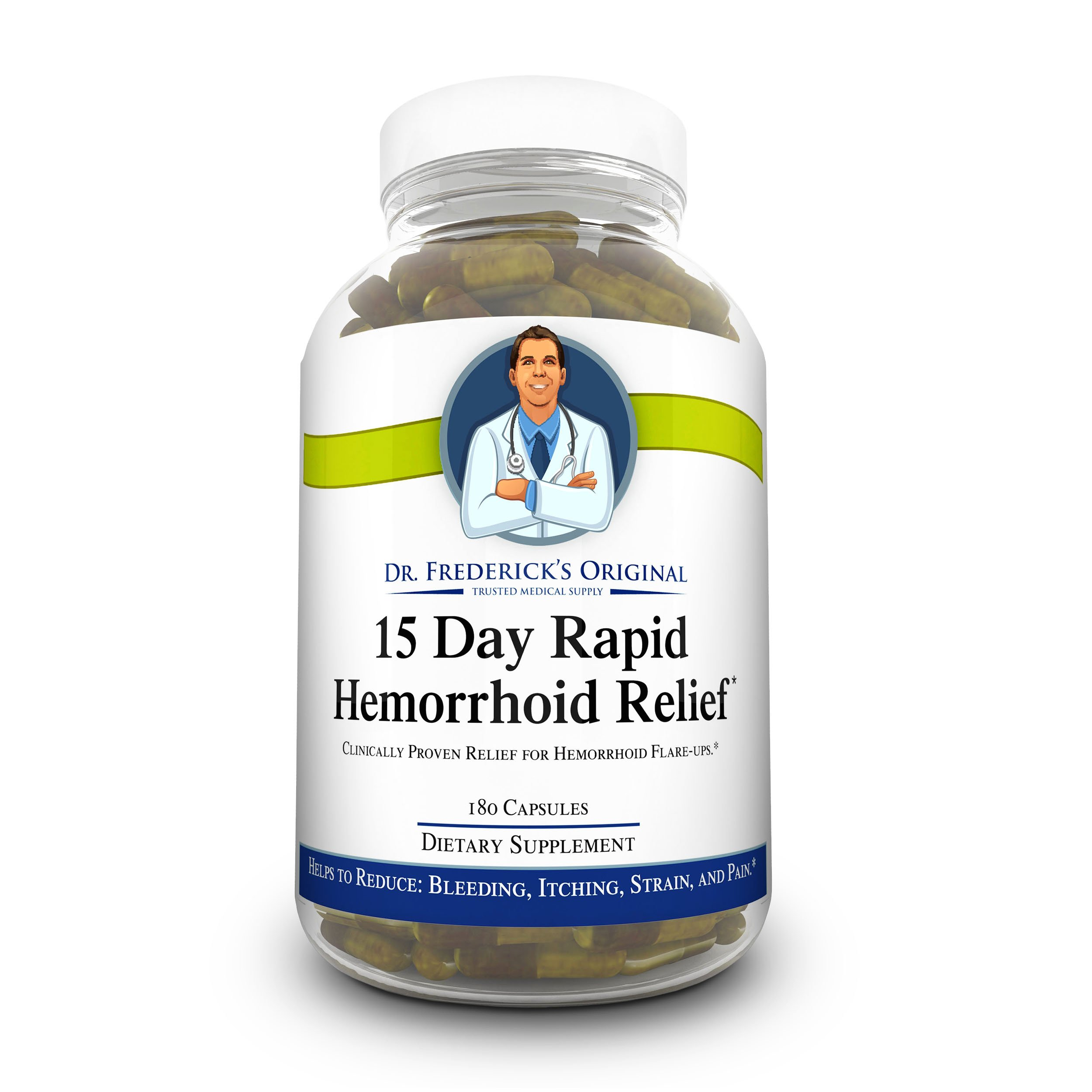 Dr. Frederick's Original Rapid Relief Hemorrhoid Treatment - 180 Fiber Supplement Capsules - 100% High Dose Blond Psyllium Husk Powder -Reduces Flare Ups, Bleeding, Itching, Pain & Strain