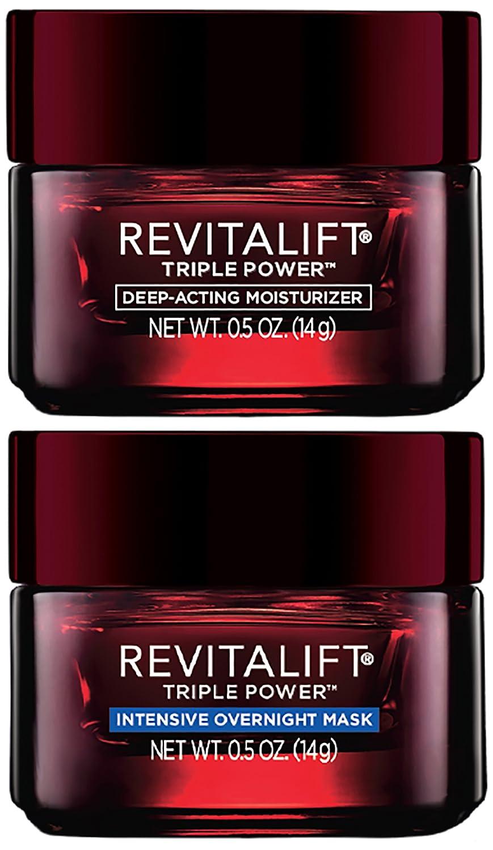 L'Oréal Paris Skincare Revitalift Triple Power Day and Night Face Moisturizer Travel-Size Regimen Set, 0.1 fl. oz.