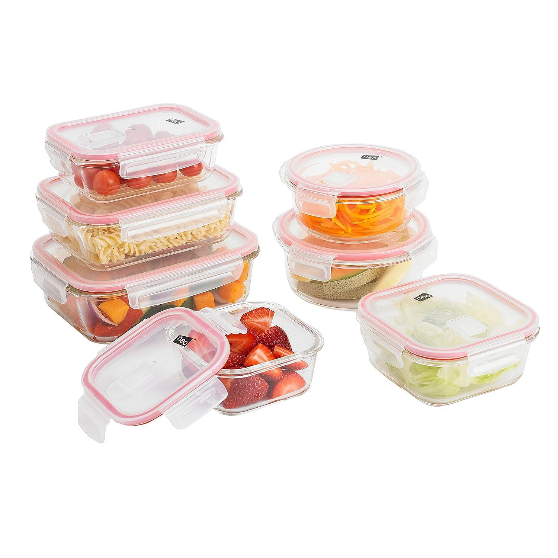 Neo® - Set di 14 contenitori da forno in vetro alimentare con coperchi di sfiato.