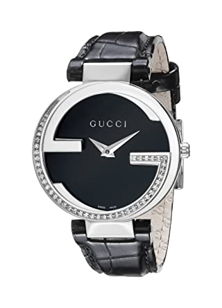 ba086637bbb Gucci Women s YA133305 Stainless Steel Diamond-Accented Watch with Leather  Band  Amazon.ca  Watches