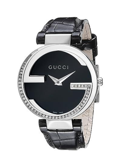 Gucci YA133305 - Reloj para mujeres, correa de cuero color negro