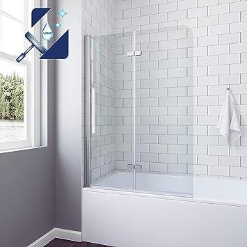 AQUABATOS - Mampara de ducha para bañera, 120 x 140 cm, nanorevestimiento, plegable, cristal de seguridad de 5 mm: Amazon.es: Bricolaje y herramientas
