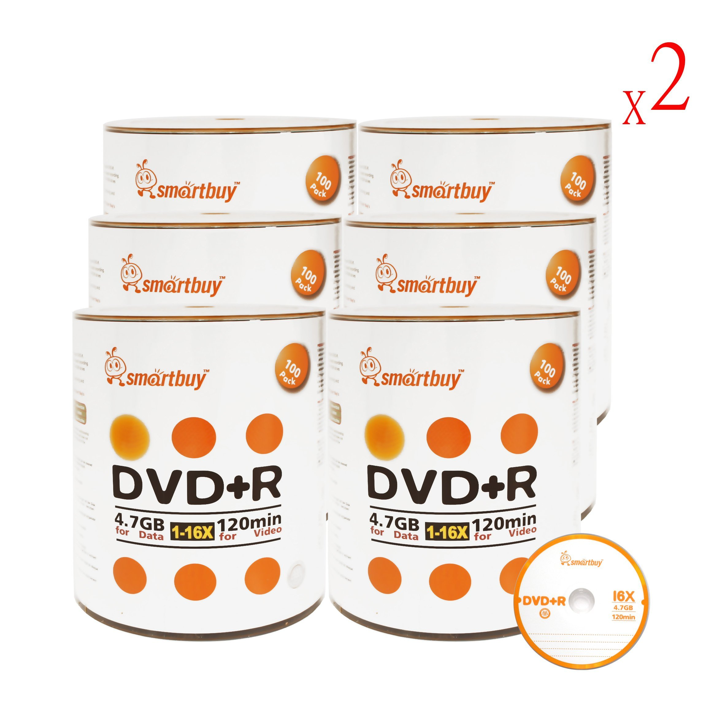 Smart Buy 1200 Pack DVD+R 4.7gb 16x Logo Blank Data Video Movie Recordable Disc, 1200 Disc 1200pk by Smart Buy