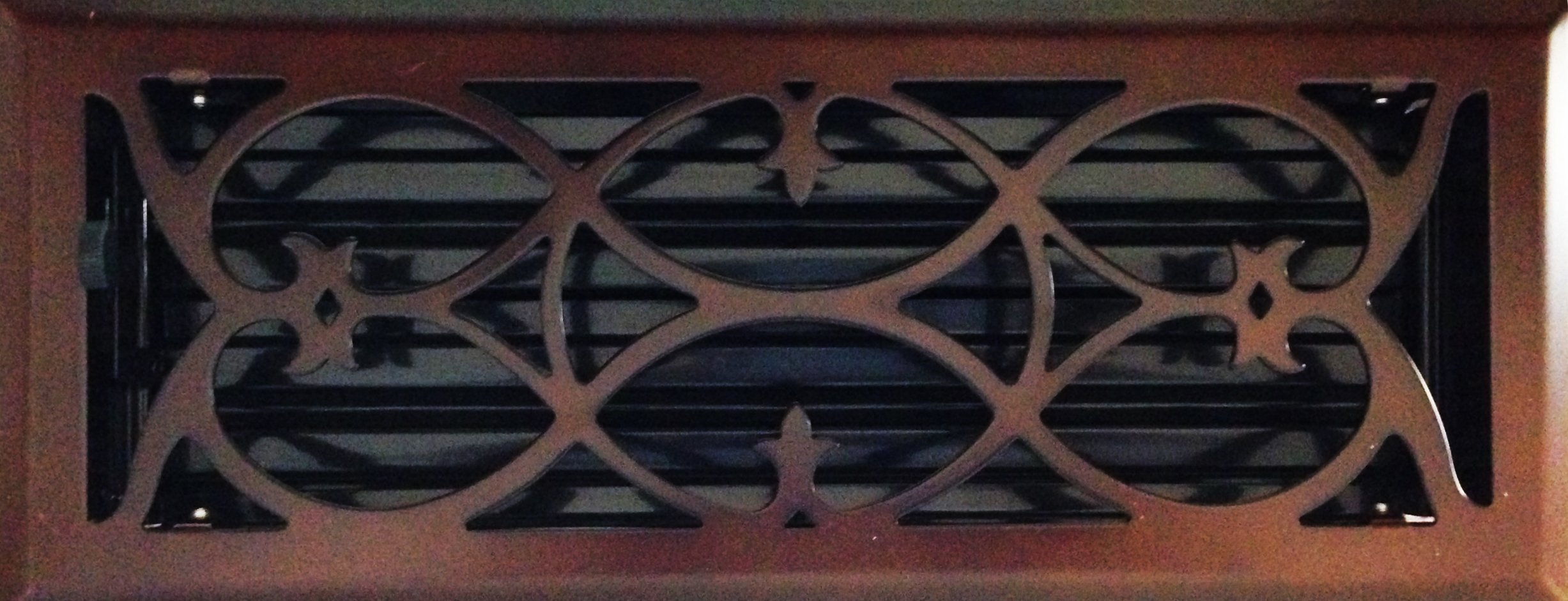 4'' x 12'' (5.25'' x 13.25'' Overall Size) Oil-Rubbed Bronze Victorian Register with Damper (HVAC VENT COVER)