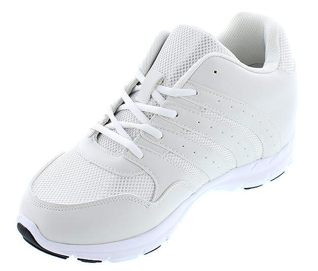 CALTO G8819–8,1cm TalleR–Hauteur augmenter Chaussures ascenseur (lacé Sneakers) - - noir/blanc,