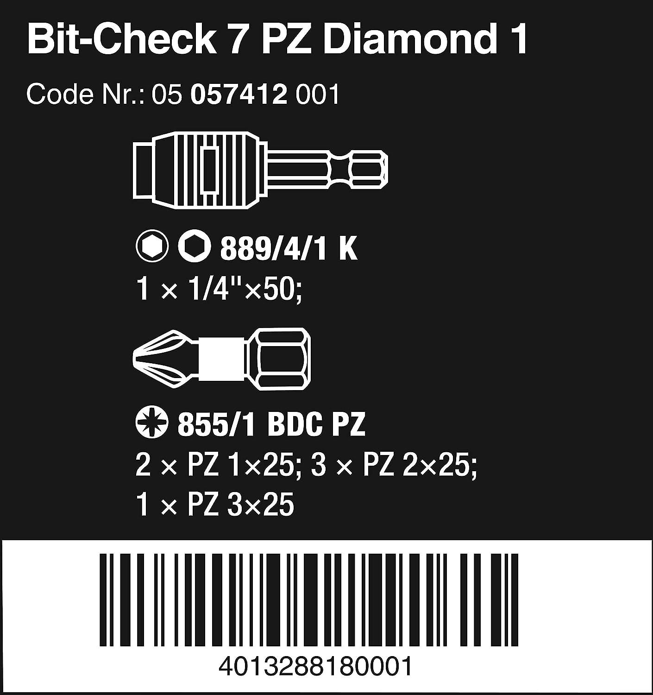 Multicolore Wera 05057416001 Embout-Check Diamond 1 7 pcs
