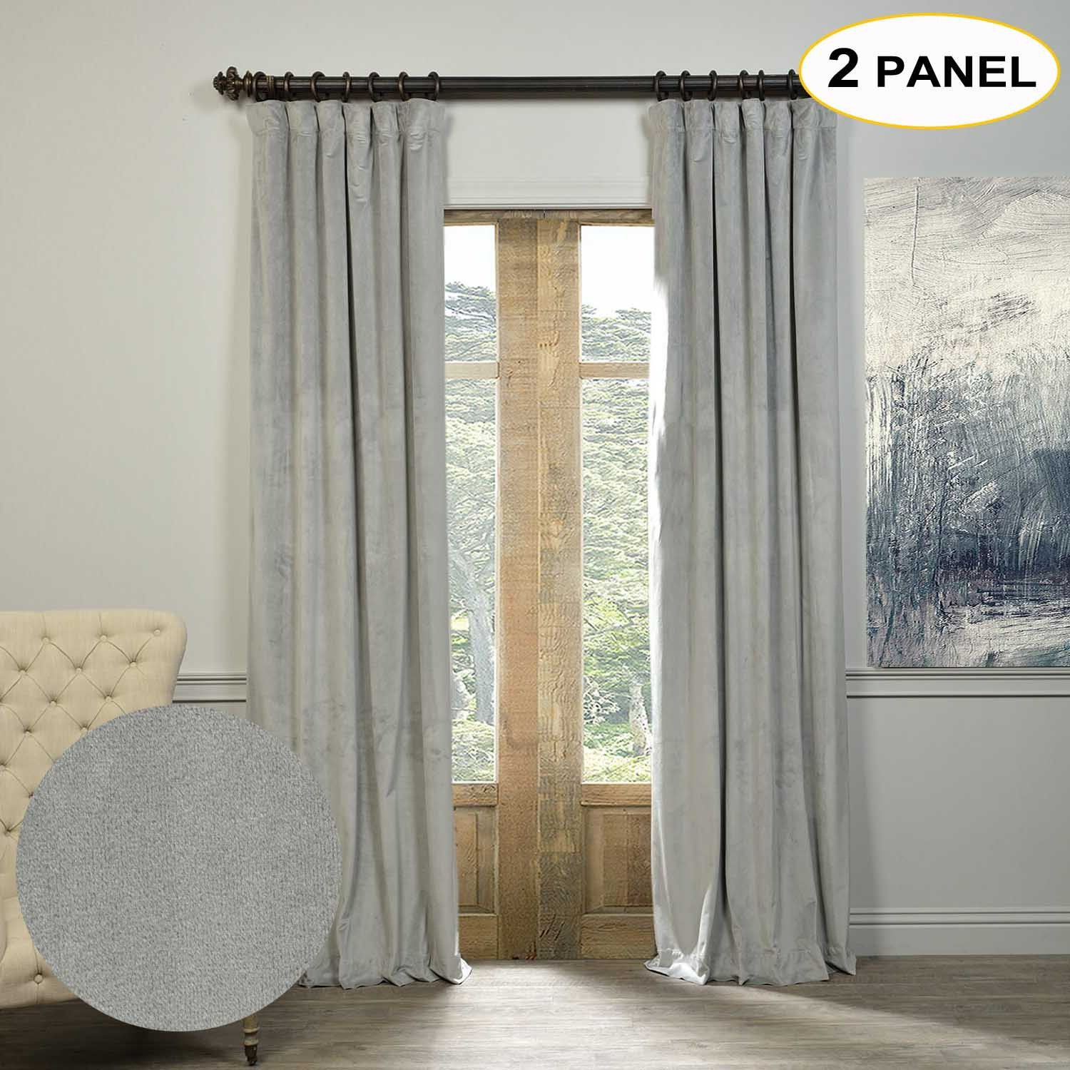Artdix Blackout Curtains Panels Window Drapes - Silver Grey 72W x 108L Inches (2 Panels) Velvet Lined Back Tab Nursery Insulated Solid Thermal Custom Curtains For Bedroom, Living Room, Kids Room