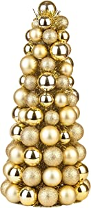Costyleen 16 Inch Christmas Ball Tree Fireplace Table Decoration Home Party Decorative Ball Ornaments Xmas Tree Decors Gold