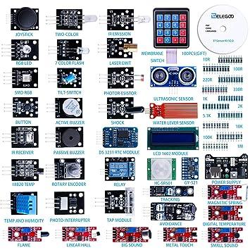 Elegoo Actualizado 37 En 1 Kit De Módulos De Sensores Con Tutorial Compatible Con Arduino Uno R3 Mega 2560 Nano Raspberry