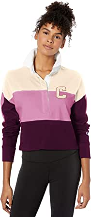 Champion Life Womens WL395550224 Rugby Cropped Collared Tee Long Sleeve Polo Shirt - Multi
