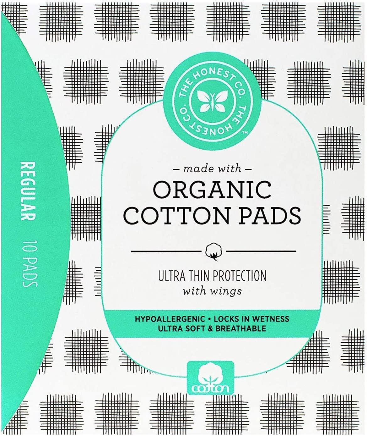 The Honest Company Organic Cotton Pads | Regular | Hypoallergenic Pads with Wings | Ultra-Soft & Ultra-Thin | PH Compatible | Breathable | Plant-Based with Organic Cotton |10 Count
