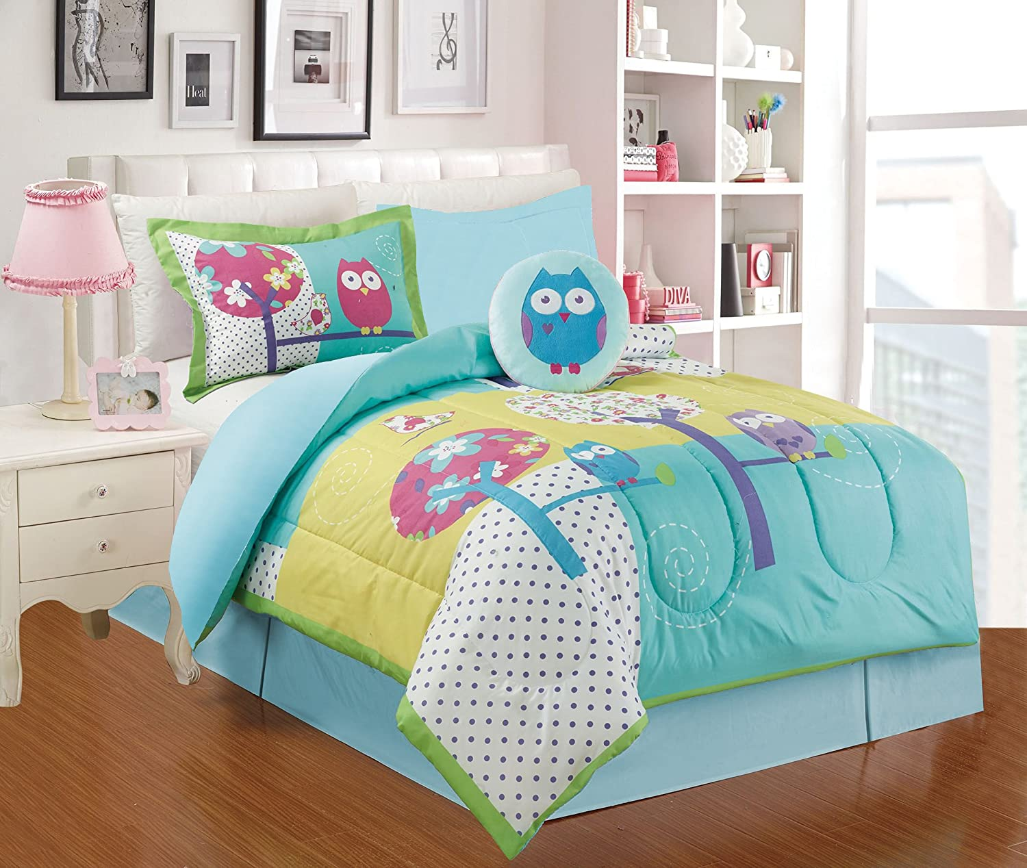 All American Collection 4 Piece Twin Size Owl Comforter Set with Bed-skirt