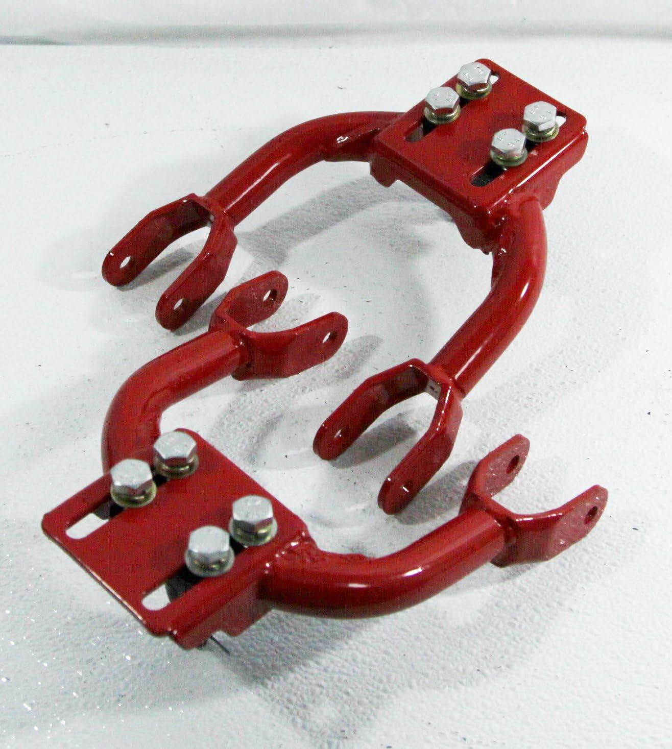 RED 1 PAIR Front Upper Tubular ADJ.Camber Arm for 1994-2001 Acura Integra// 1992-1995 Honda Civic// 1993-1997 Honda Civic del Sol