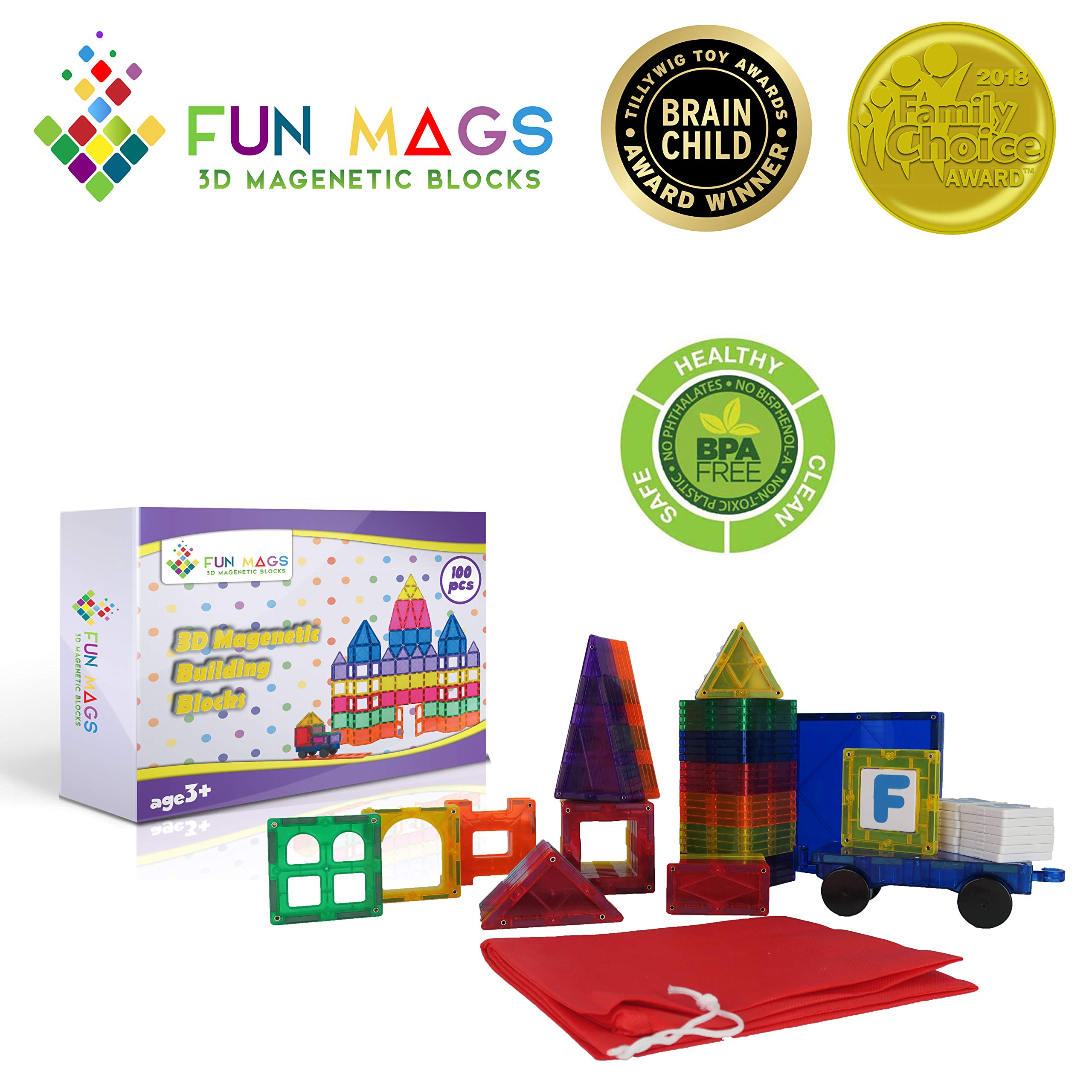 Fun Mags Magnetic Blocks 100-Piece Set 3D Magnetic Building Blocks, STEM Educational Magna Magnetic Tiles Magnet Toys for Kids, Toddlers by Lustien Toys (Image #7)