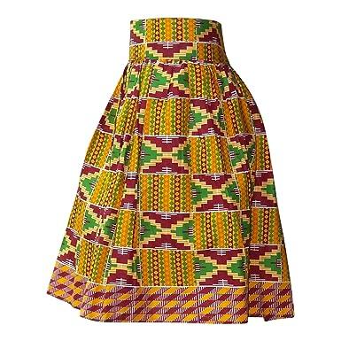 5c876073db Amazon.com: Osikapa High Waist African midi Skirt- Kente Cloth Collection  (XL): Clothing