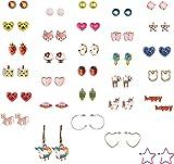 Eternity Aurora 30 Pairs Cute Unicorn Animal Earrings, Hypoallergenic Earrings Set for Kids, Girls Colorful Cute Stud Earrings