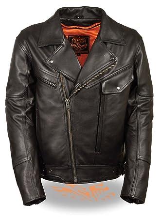 Los hombres de la motocicleta moto lateral cinturón utilidad chaqueta de piel mantequilla suave negro Regular