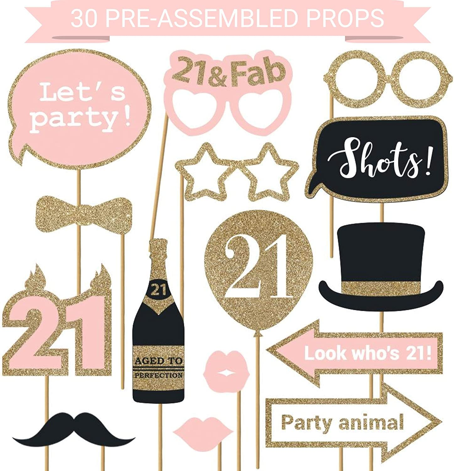 Fully Assembled 21st Birthday Photo Booth Props - Set of 30 - Pink & Gold Selfie Signs - 21st Party Supplies & Decorations - Cute 21st Bday Designs with Real Glitter - Did we mention no DIY?