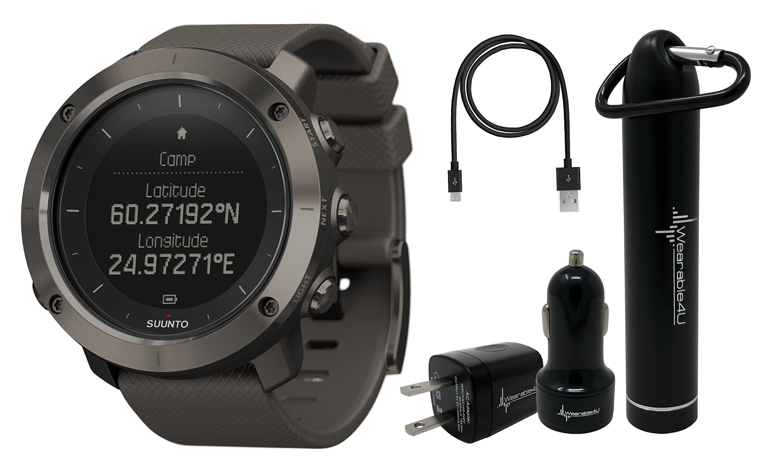 Suunto Traverse GPS Outdoor Hiking Watch with Versatile Navigation Functions and Wearable4U Ultimate Power Pack Bundle (Graphite) by Wearable4u (Image #1)