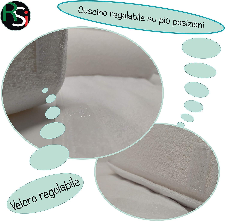 antireflujo e hipoalerg/énico Coj/ín lateral para reci/én nacido fabricado en la UE 100/% transpirable y desenfundable transpirable /útil en la prevenci/ón de la irritaci/ón Bianco RS-Italy
