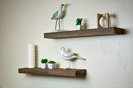 Tremendous Amazon Com Floating Wall Shelves Made From Real Rustic Interior Design Ideas Ghosoteloinfo